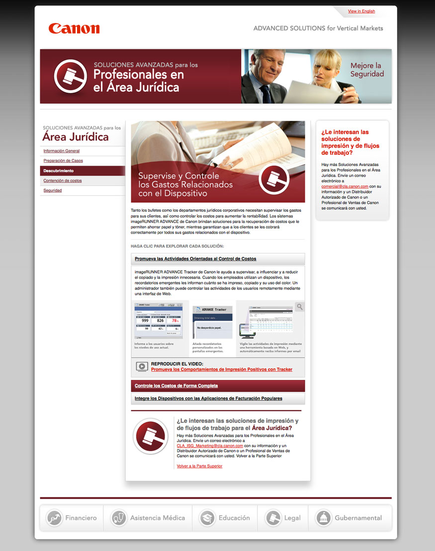 Canon Advanced Solutions Website - Legal