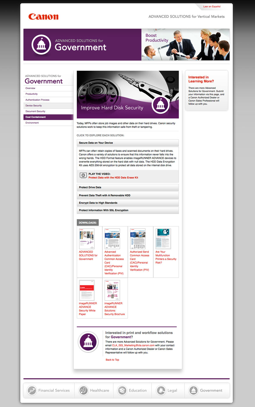 Canon Advanced Solutions Website - Government