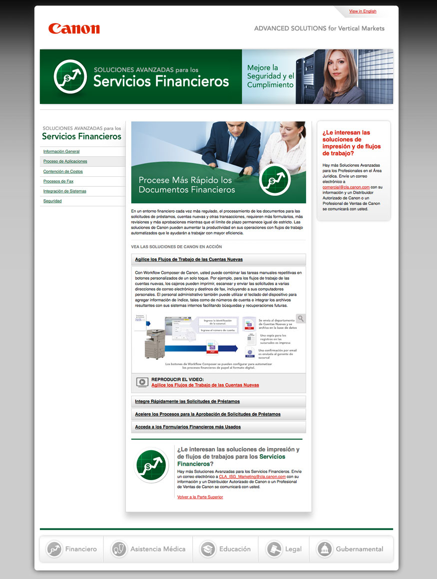 Canon Advanced Solutions Website - Finance