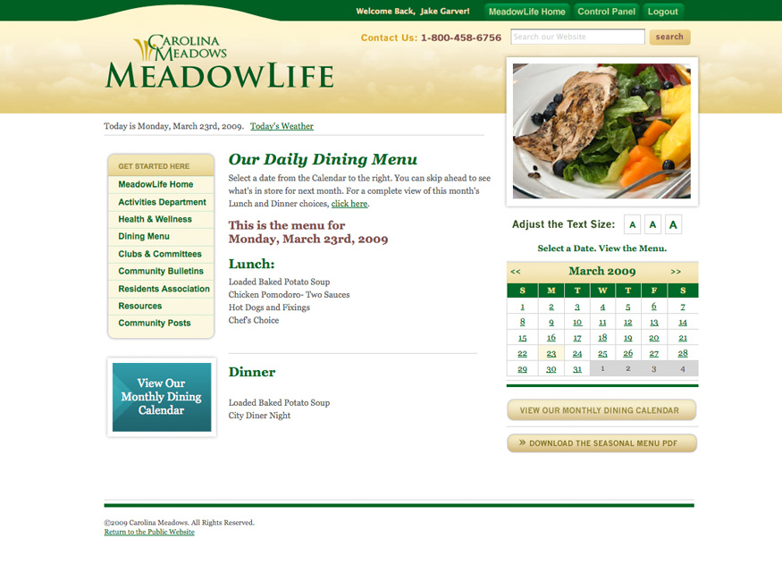 Carolina Meadows Dining Page