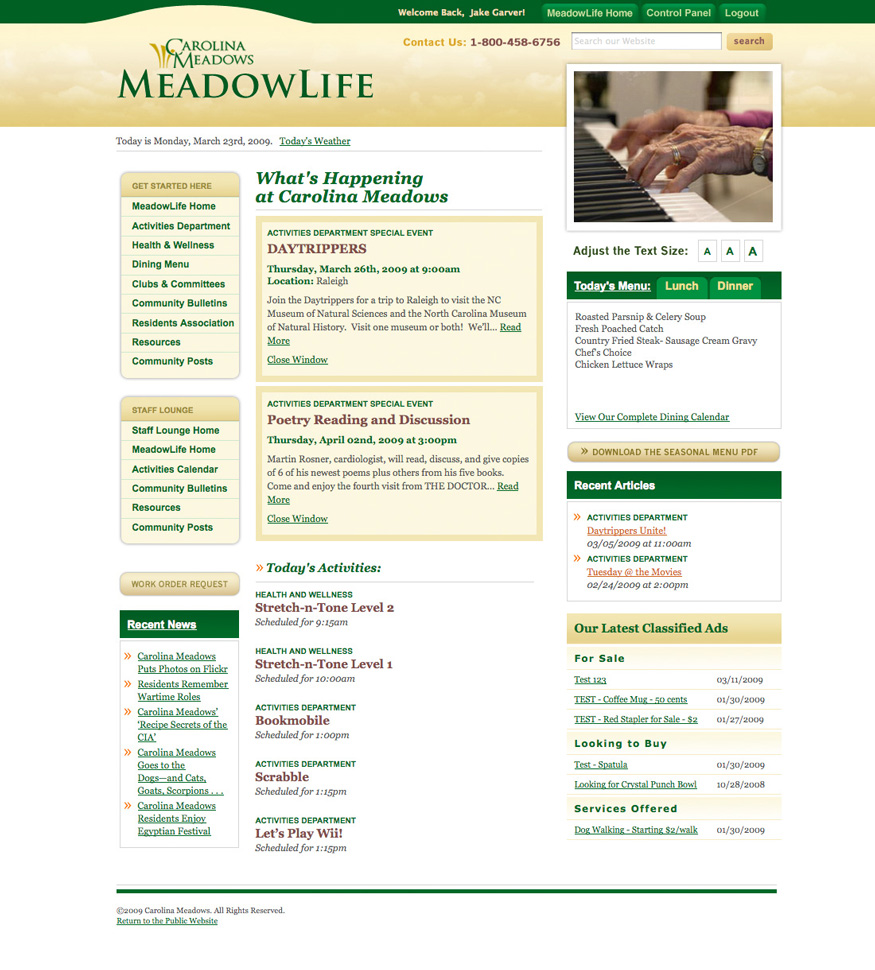 Carolina Meadows Community Page