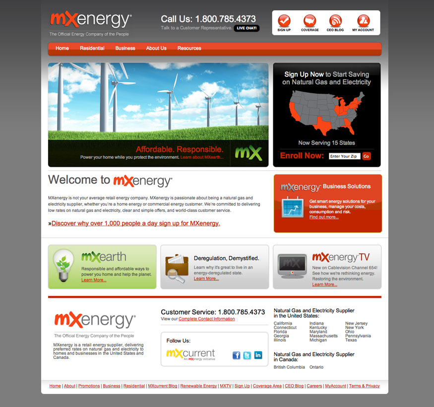 MX Energy Homepage