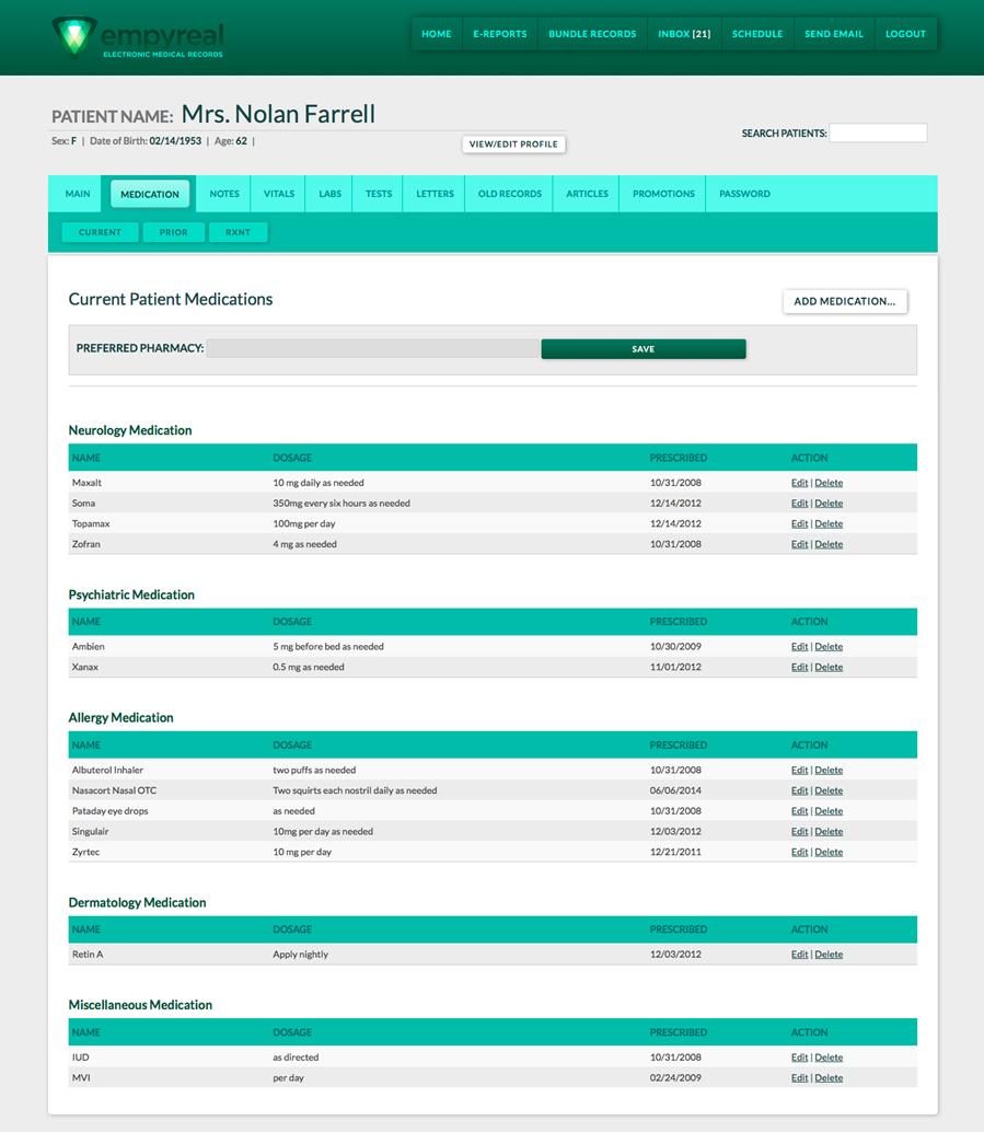 Empyreal EMR App Page